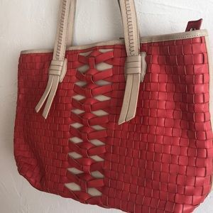 Coral & Tan Cole Haan Tote!